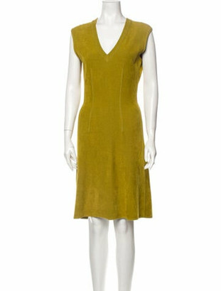 Alaia V-Neck Knee-Length Dress Yellow