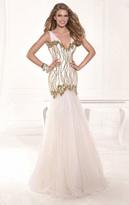 Tarik Ediz Sequined V-Neck Gown 92382