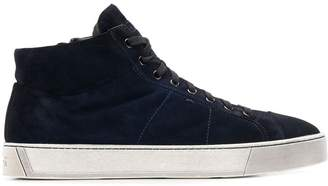 Santoni hi-top suede trainers
