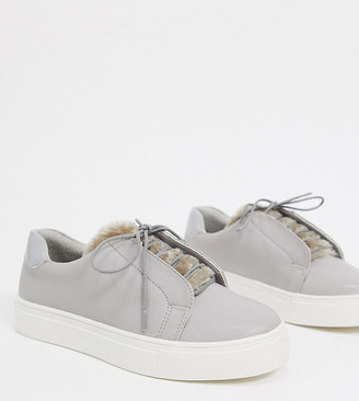 Simply Be wide fit patent trainers in grey