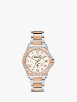 Bulova 98R234 Women's Marine Star 0.02ct Diamond Date Bracelet Strap Watch, Silver/Rose Gold