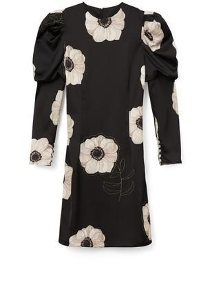 Phoebe Grace Talulah Mini Dress In Black & Cream Poppy