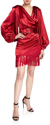 Bronx and Banco Carmen Belted Long-Sleeve Fringe-Hem Mini Satin Wrap Dress