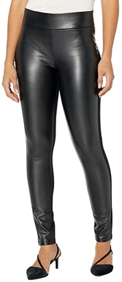 NYDJ Ponte/Faux Leather Leggings in Black (Black) Women's Jeans