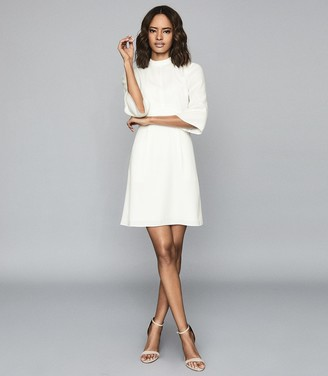 Reiss CORA BELL SLEEVE SHIFT DRESS Ivory