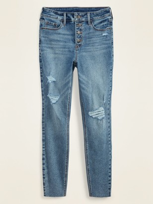 Old Navy High-Waisted Button-Fly Distressed Rockstar Super Skinny Ankle Jeans for Women