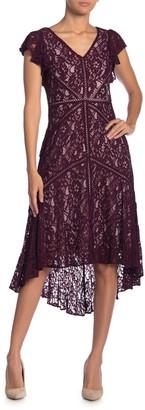 Taylor Flutter Sleeve Lace Dress