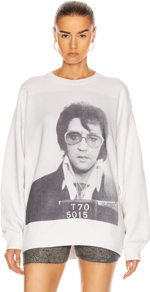 R 13 Elvis T70 Oversized Crewneck Sweatshirt in Dirty White | FWRD