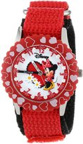 Disney Kids' W000281 Glitz Minnie Mouse Stainless Steel Time Teacher Red Bezel Red Velcro Strap Watch