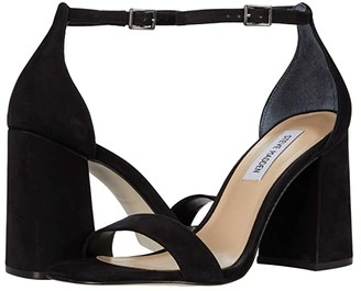 Steve Madden Dillion Heeled Sandal (Black Nubuck) Women's Shoes