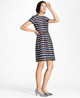 Brooks Brothers Striped Stretch-Cotton Sateen Dress