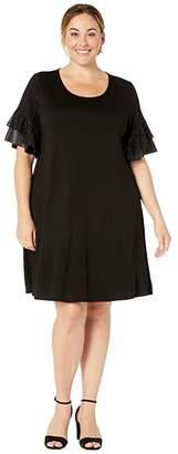 Karen Kane Plus Plus Size Contrast Ruffle Sleeve Dress (Black) Women's Dress