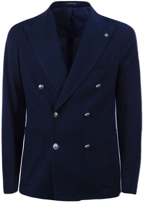 Tagliatore Blue Cotton Double-breasted Jacket