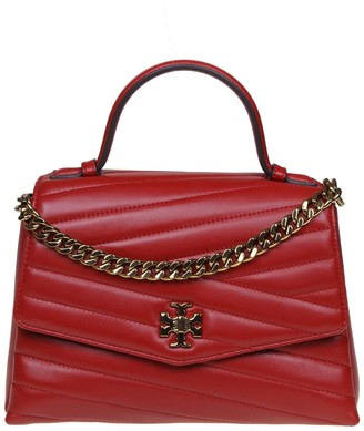 Tory Burch Kira Chevron Hand Bag Top-handle Satchel Leather Color Red