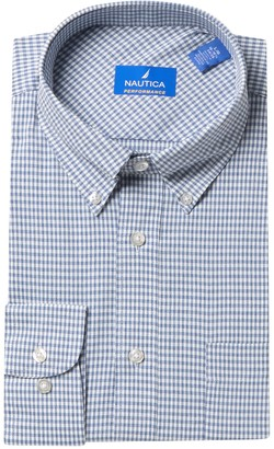 Nautica Plaid Print Long Sleeve Classic Fit Performance Shirt