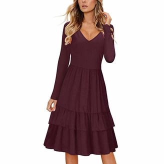 Celucke 2019 New Women's V Neck Swing Casual Short Dress with Pockets Floral Sleeveless Ruffle A-Line Dress Wine