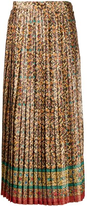 Yves Saint Laurent Pre Owned 1970s Floral Print Pleated Skirt
