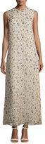 Calvin Klein Sleeveless Floral-Print Organza Gown, Tan