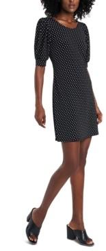 MSK Printed Puff-Sleeve Dress