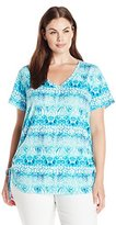 Caribbean Joe Women's Plus-Size V Neck Short Sleeve Top