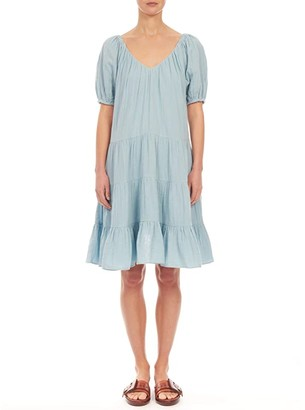 La Vie Rebecca Taylor Short Sleeve Double Gauze Dress (Blue Haze) Women's Clothing