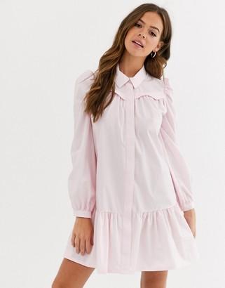 Asos Design DESIGN casual cotton mini shirt dress with pephem-Pink