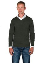 Ugholin Men's V-Neck Sweater with a White Mock Shirt Insert XXL