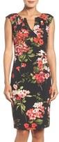 Adrianna Papell Floral Print Stretch Sheath Dress