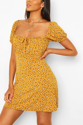 boohoo Ditsy Floral Rouched Bust Skater Dress