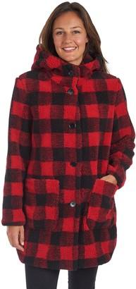 Fleet Street Women's Plaid Faux Fur Long Coat