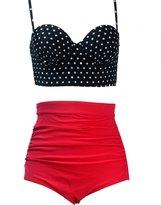Qiaoer Womens Plus Size Vintage Push up Halter High Waisted Bikini Swimsuit Set (S, )
