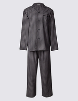 M&S Collection 2in Longer Cotton Blend Checked Pyjamas