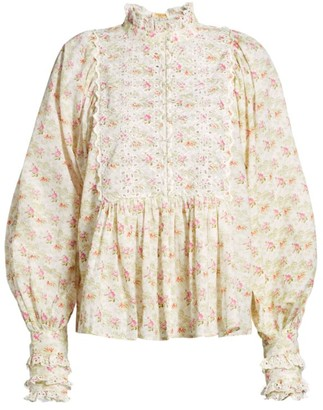 By Ti Mo Floral Lace Eyelet-Trim Puff-Sleeve Blouse