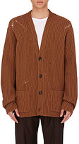 Maison Margiela Men's Distressed Wool Oversized Cardigan-BROWN