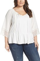 Democracy Plus Size Women's Lace Trim Split Neck Top