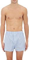 Barneys New York Men's Grid-Pattern Cotton Poplin Boxers