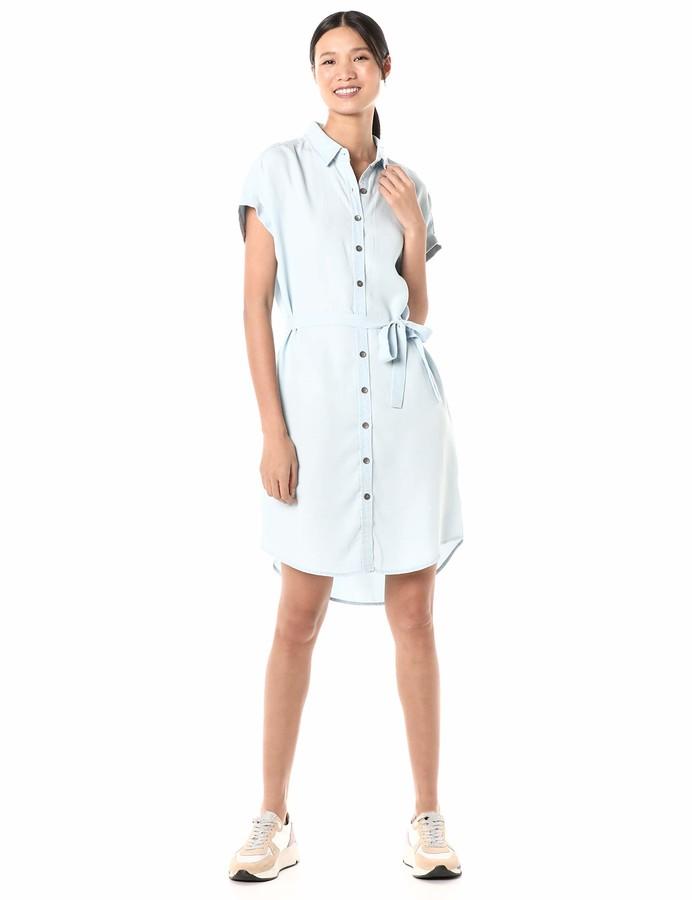 Goodthreads Amazon Brand Women's Oversized Tencel Short-Sleeve Shirt Dress