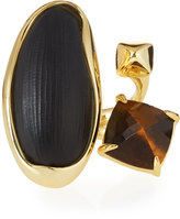 Alexis Bittar Liquid Bezel Pyramid Cocktail Ring, Black