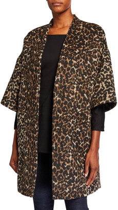 Natori Leopard Felted Wool Kimono Topper