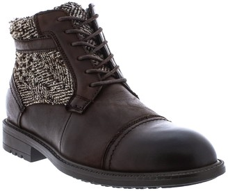 English Laundry Conner Houndstooth Panel Leather Lace-Up Boot