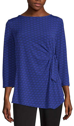 Liz Claiborne Womens Boat Neck 3/4 Sleeve Blouse