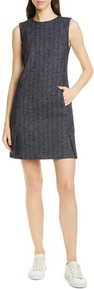 Theory Vent Front Wool Blend Shift Dress