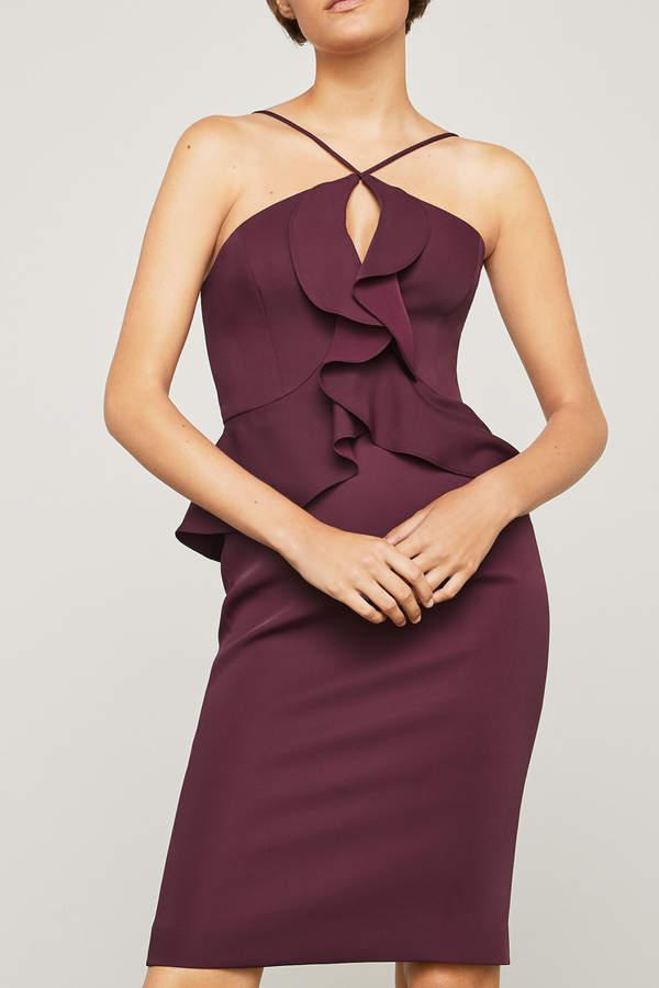 BCBGMAXAZRIA Halter Peplum Dress