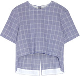 Tim Coppens Checked crinkled cotton-blend top