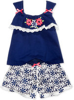 Nannette 2-Pc. Embroidered Top & Floral Shorts Set, Baby Girls (0-24 months)