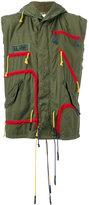 As65 - drawstring hooded gilet - women - Cotton/Nylon/Calf Leather/Viscose - S