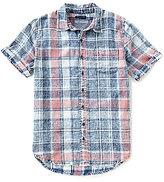 True Religion Indigo Washed Out Plaid Short-Sleeve Shirt