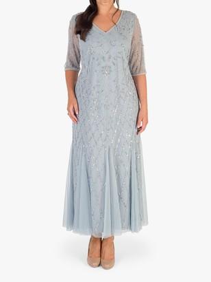 Chesca V-Neck Floral Beaded Mesh Dress