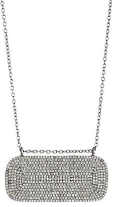 Nina Gilin Black Rhodium-Plated & Diamond Pave Horizontal Dog Tag Necklace