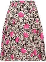 Valentino Pleated Printed Silk Crepe De Chine Mini Skirt - Pink